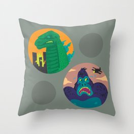 More Godzilla, Less King Kong Throw Pillow