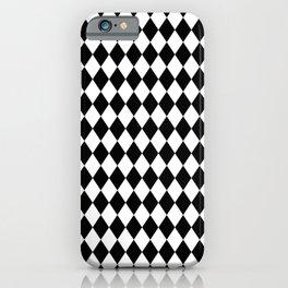 Classic Black and White Harlequin Diamond Check iPhone Case