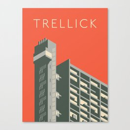 Trellick Tower London Brutalist Architecture - Text Red Canvas Print