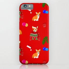 Christmas puppies pattern red background  iPhone Case