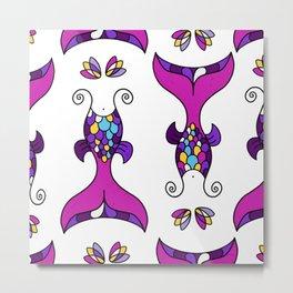 Mermaid Tails Pattern / Multicolor Scales Metal Print