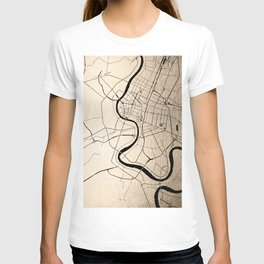 Bangkok Thailand Minimal Street Map - Gold Metallic and Black II T-shirt