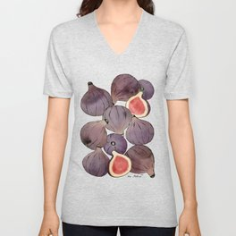 figs still life botanical watercolor Unisex V-Neck