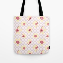 Butterfly Ranunculus on Checkerboard Tote Bag