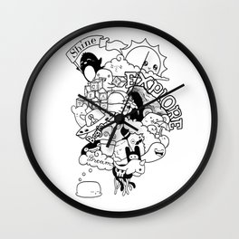 Begin to Shine Ink Doodle Wall Clock