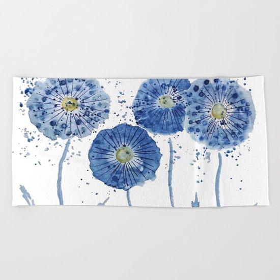 four blue dandelions watercolor Beach Towel