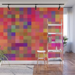 geometric square pixel pattern abstract in pink blue yellow Wall Mural