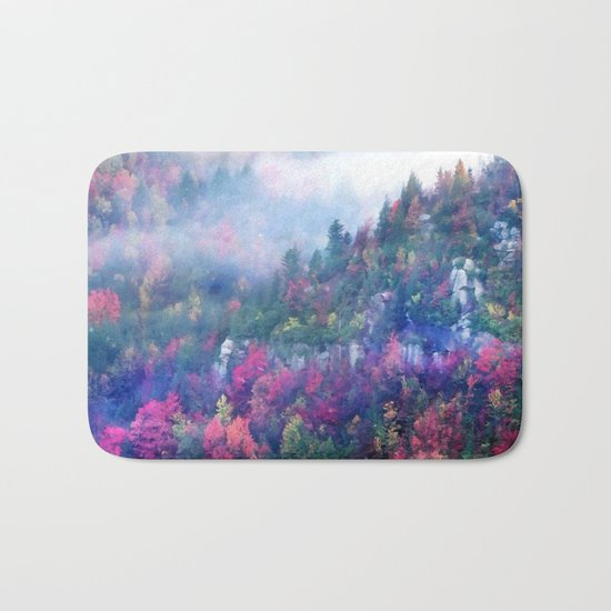 Fog over a colorful fall mountain forest Bath Mat