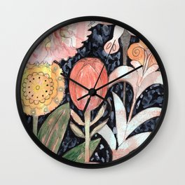 Mixed Flowers with Tulip on Black Wall Clock