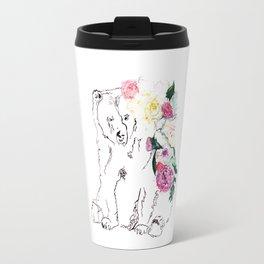 Bear with flowers, Bear, nature Travel Mug