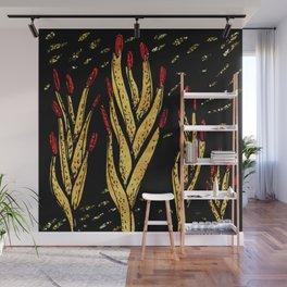 Gold aloe hands Wall Mural