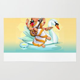 Sarasvati, Hindu goddess of knowledge, arts and learning. Rug