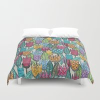 tulips Duvet Covers featuring tulips by Sharon Turner