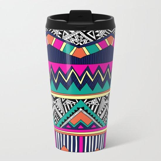 Multicolor tribal background with doodle elements Metal Travel Mug
