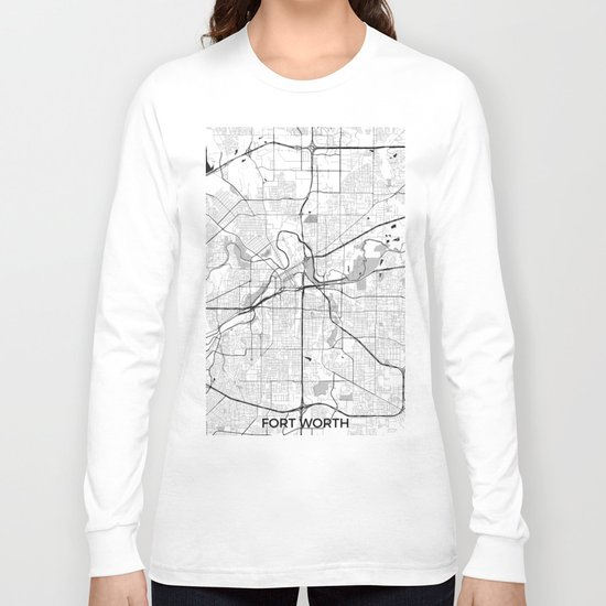 Fort Worth Map Gray Long Sleeve T-shirt