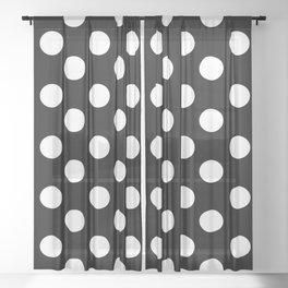 Polka Dot (White & Black Pattern) Sheer Curtain