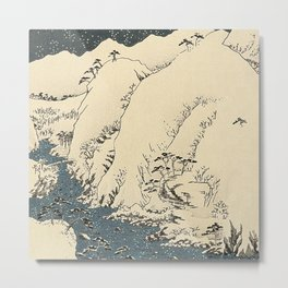 Snowy hills of Kiso in the style of Horoshige Metal Print