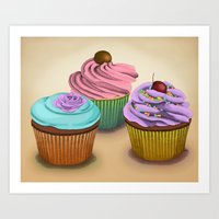 cupcakes Art Prints featuring Cupcakes!  by Megs stuff...