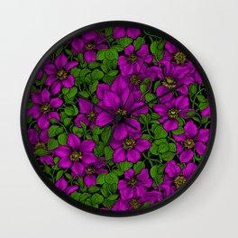 Pink Clematis vine Wall Clock