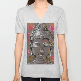 Buddha in happiness & inner peace Unisex V-Neck