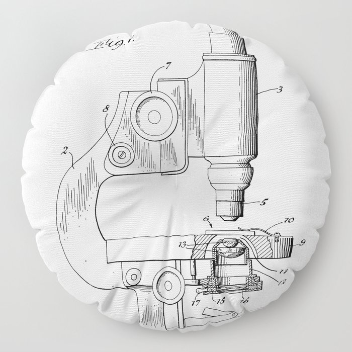 Microscope Patent - Scientist Art - Black And White Floor Pillow