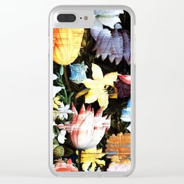 A Still Life of Flowers Glitch Clear iPhone Case