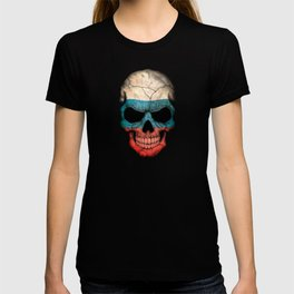 Dark Skull with Flag of Russia T-shirt