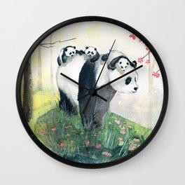 Panda family Wall Clock
