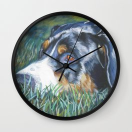 Greater Swiss Mountain Dog portrait art from an original painting by L.A.Shepard Wall Clock