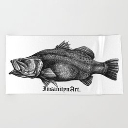 InsanitynArt's Special Barramundi Illustration Monster Hunter. Beach Towel