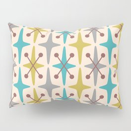 Mid Century Modern Abstract Star Pattern 441 Gray Brown Turquoise Olive Green Pillow Sham