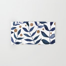 Watercolor berries and branches - indigo and beige Hand & Bath Towel