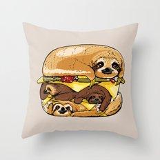 Sloths Burger Throw Pillow
