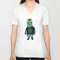cookie V-neck T-shirts featuring cookie and big blue by bri.buckley