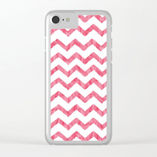 Chevron Red And White Clear iPhone Case