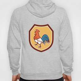 Chicken Rooster Crowing Looking Up Shield Retro Hoody
