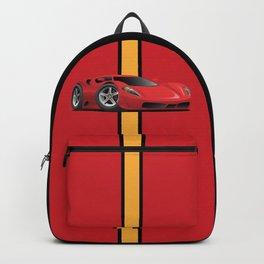 Red Hot Sports Car Cartoon Backpack