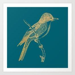 Gold bird branche on quetzal green Art Print