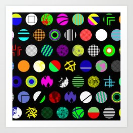 Eclectic Circles - Abstract collage of random, colourful, bold, eclectic circles Art Print