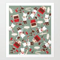 chef Art Prints featuring  Chef pattern by Maria Jose Da Luz