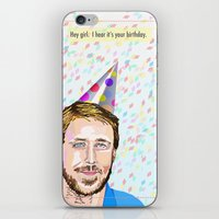 ryan gosling iPhone & iPod Skins featuring Ryan Gosling Hey Girl by June Chang Studio