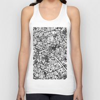 paris map Tank Tops featuring Paris by Mondrian Maps