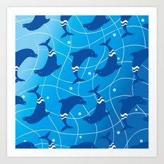 Dolphins on the Wave_E02 Art Print