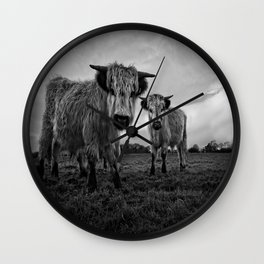 Two Shaggy Cows Wall Clock