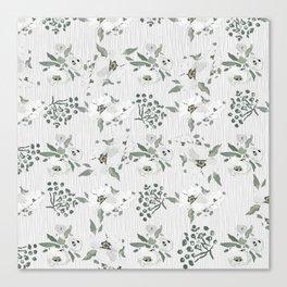 Vintage white mauve green watercolor floral Canvas Print