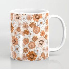Monday Flowers - 70s retro floral, flowers, terracotta, rust, brown, earth tones, muted, happy  Coffee Mug