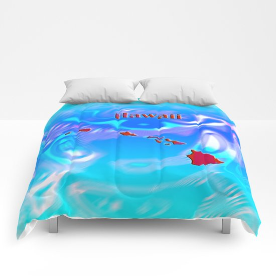 Hawaii Map Comforters