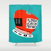 kubrick Shower Curtains featuring Life On Mars? by Derek Eads