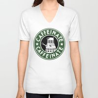 dalek V-neck T-shirts featuring Dalek Caffeinate by ThePhantomMoon