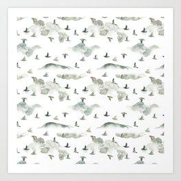Hand painted green gray watercolor cloud bird pattern Art Print